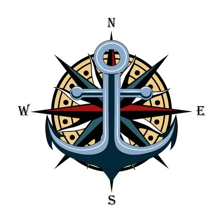 Vector image of anchor with wind rose. Image on white background.