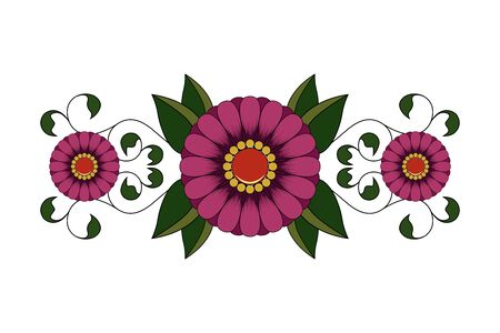 Vector image of flowers with leaves.