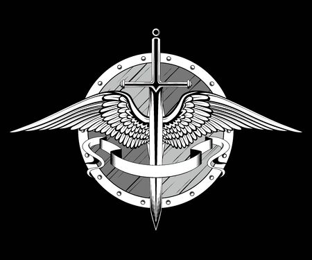 Vector image of sword, shield, wings, ribbon. Image on black background.