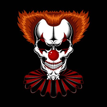 Vector image of the skull of a clown in a red jabot on a black background.