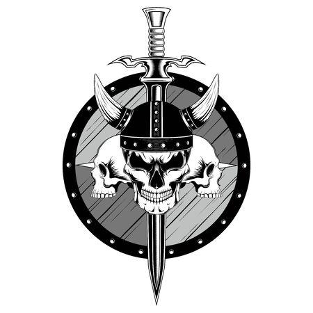 Viking skull in helmet with sword, shield and skulls. Vector image on white background. Ilustração