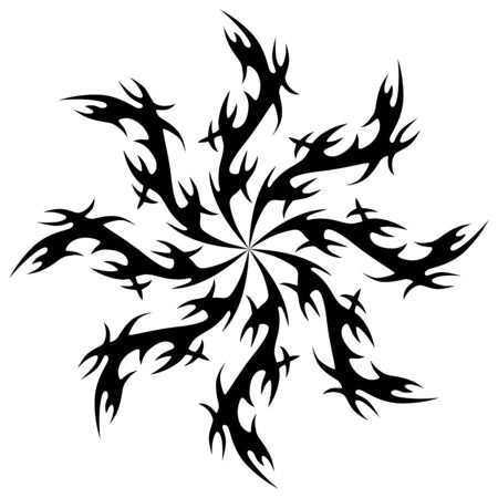 Black vector drawing. Graphic ornament element. Vector pattern on a white background.