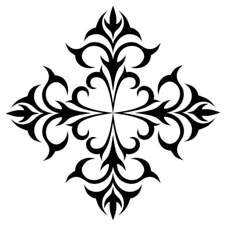 Vector image of a floral pattern element. Black image on white background.