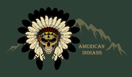 Indian skull in a crown of feathers. Vector image on dark background. American indian.