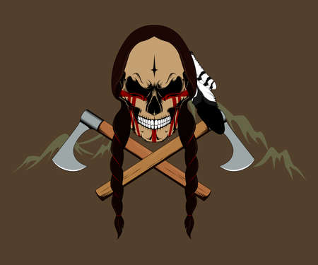 Indian skull with two axes. Color vector image. Ilustração