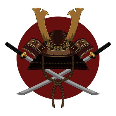 Samurai swords and helmet. Color vector image on a red circle background.