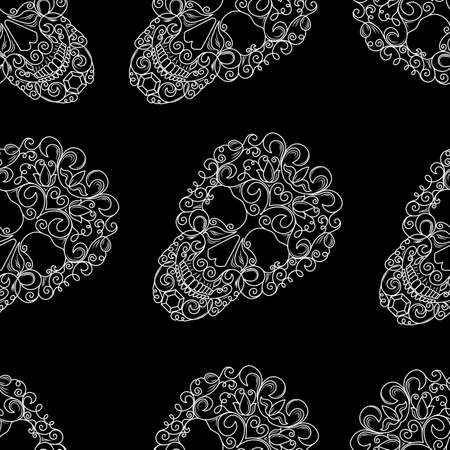Seamless texture with the image of skulls on a black background. Vector image of white skulls with pattern.