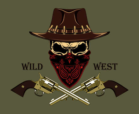 Skull in a cowboy hat with revolvers and a bandana on his face. Color vector image of the Wild West. Ilustração