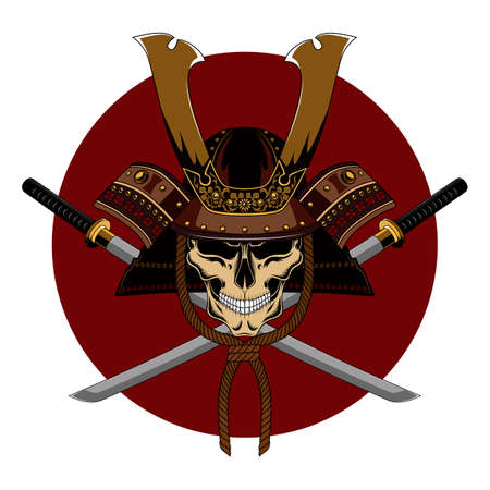 Skull in a samurai helmet with two swords. Color vector image on a white background with a red circle.
