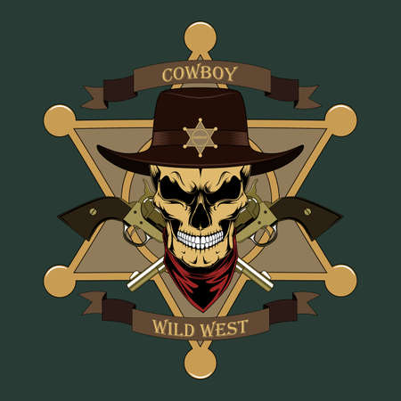 Skull sheriff with two revolvers and a sheriff star. Color vector image.