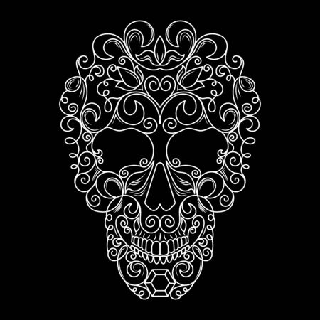 Skull with floral pattern. White vector image on black background.