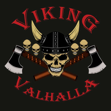 Viking skull in helmet with axes and small skulls. Color vector image on a gray background.