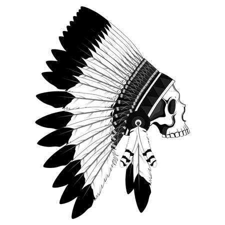 Skull in a crown of feathers. Black and white vector image of an Indian skull on the background.