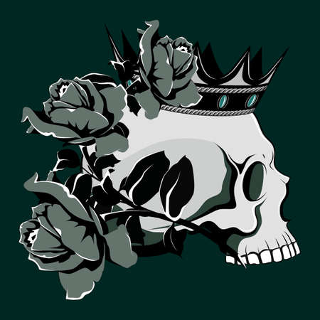 Vector image of a skull in a crown and roses. Image on dark gray background. Ilustração