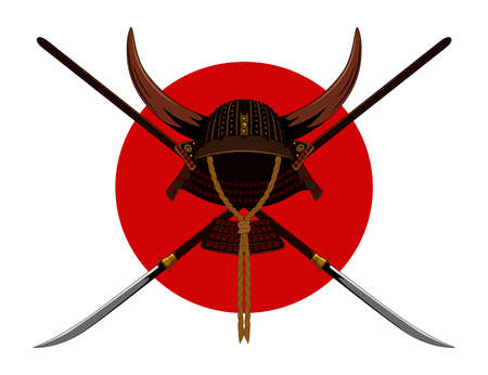 A samurai helmet with horns and weapons. Color vector image.