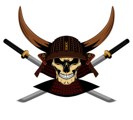 A vector image of a samurai skull in a helmet with horns and swords. Image on white background.