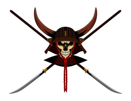 Samurai skull in helmet with horns and weapons. Color vector image on a white background.