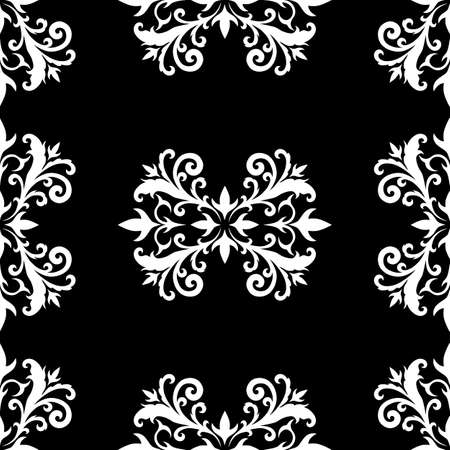 Seamless texture with the image of a floral pattern. Vector image of a white pattern on a black background.
