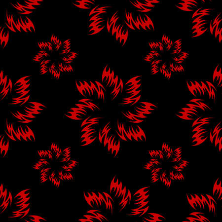 Seamless texture with the image of red flowers on a black background. Vector image.