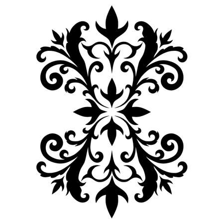 Vector black image of an element of a pattern on a white background. Tattoo element. Ilustração