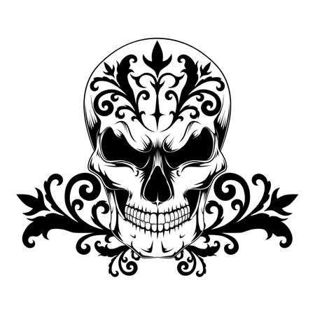 Vector image of a skull with tattoo pattern. Black and white image on a white background.