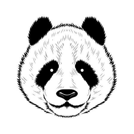 A vector image of a panda. Black image on white background. Ilustração