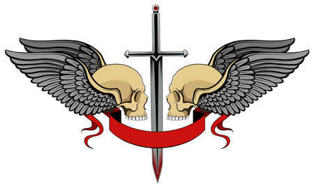 Skulls with wings and a sword. Color vector image on a white background.