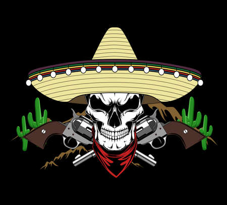 Skull in mexican hat with revolvers. Vector image on black background.