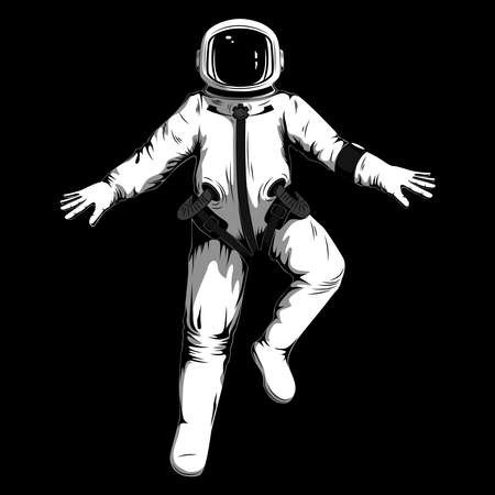 Vector image of an astronaut on a black background.