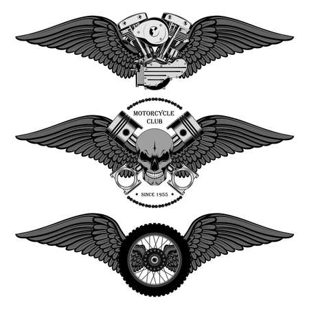 Set of vector images skull with wings and pistons, motorcycle wheel with wings, engine with wings. Set of emblems on a white background.