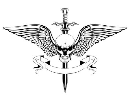 Skull with wings, sword and ribbon. Black and white vector image. Image on white background.
