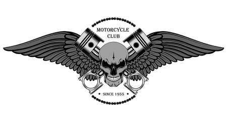 Skull with wings and pistons. An image for a motorcycle club emblem.