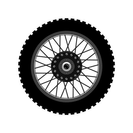 Vector image of a motorcycle wheel. Graphic image on a white background.