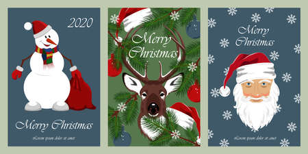 Set of holiday cards for christmas and new year. Cheerful snowman, deer, santa claus. Design elements for greeting cards, flyers, banners, prints.