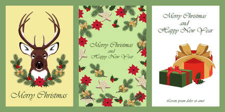 Set of vector images for christmas and new year. Deer, Christmas wreath, gifts. Design elements for greeting cards, flyers, banners, prints, illustrations. Ilustração