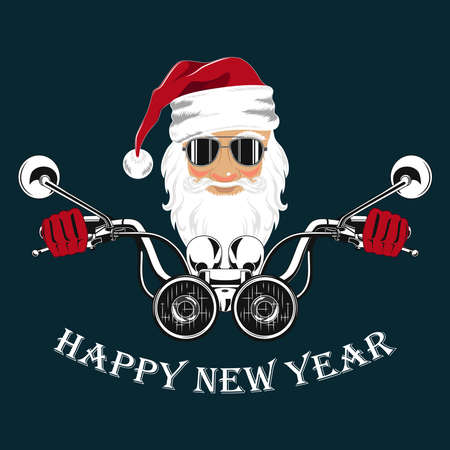 Vector image, santa claus with glasses driving a motorcycle. Image on a blue background.