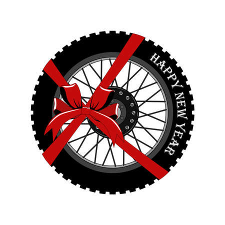 Vector image of a motorcycle wheel. Happy New Year. Image on a white background.