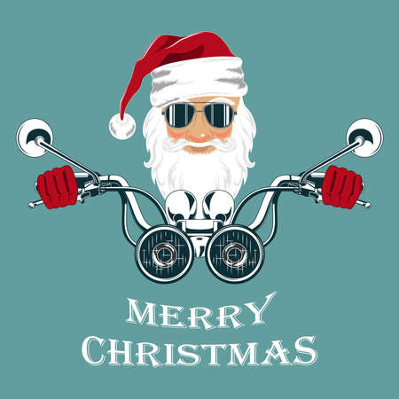 Vector image of santa claus in glasses driving a motorcycle. image on a blue background.