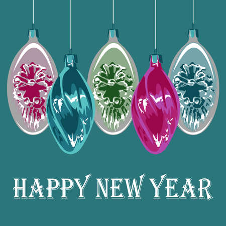 Vector image of multi-colored Christmas toys. Image on a blue background. Happy New Year. Ilustração
