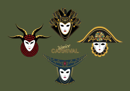 A set of traditional Venetian masks decorated with beads, a gold pattern, decorative elements, bells. Vector image on a green background. Ilustração