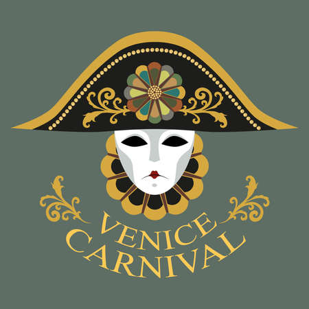 Vector image of a carnival mask in a hat decorated with a gold pattern and a flower. Venetian mask, hat, collar. Image on a gray background.