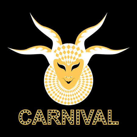 Vector image of a carnival mask of a cheerful demon. White mask on a black background. Ilustração