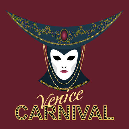 Vector image of a crescent-shaped carnival mask decorated with a gold pattern and beads. Blue venetian mask. Ilustração