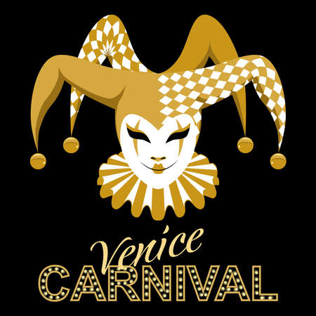 Vector image of a jester carnival mask. Venetian traditional mask. A jester in a hat with bells and jabot.