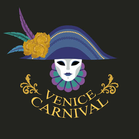mask in a hat decorated  gold flowers and feathers. Vector image of a traditional mask.