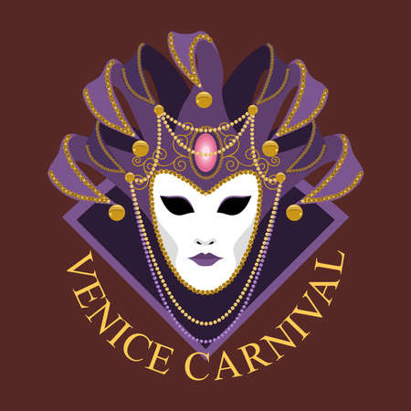 Venetian mask decorated with a gold pattern, beads, bells. Carnival mask with a collar and decorative patterns. Vector image on a dark background.