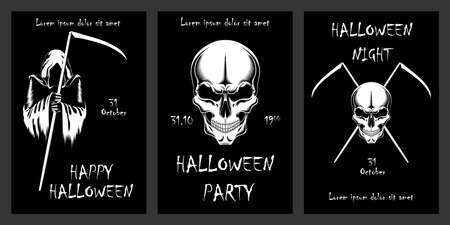 Set of vector black and white illustrations for halloween day. Skulls with braids. Set of design elements for cards, flyers, invitations, banners. Ilustração