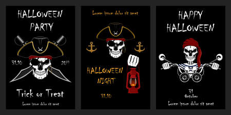 Set of vector halloween cards. Skulls of pirates. Pirate driving a motorcycle. Set of elements for cards, banners, flyers, posters.