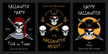 Set of vector halloween holiday illustrations. Skulls of pirates. Template for cards. Design elements for cards, flyers, banners, invitations, posters. Ilustração