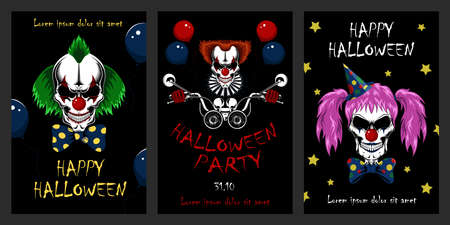 Set of vector halloween illustrations. Evil clowns, clown driving a motorcycle. Design elements for cards, flyers, banners, invitations, posters, posters. Ilustração
